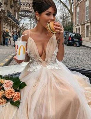 Stunning Trendy V-neck Flattering with Lace Appliques Spaghetti Straps Long-Length Elegant Prom Dress Online | Suzhoudress UK_3