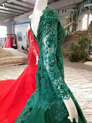 Mermaid Sparkly Beaded Chapel Train Long Sleeves Tulle Applique Prom Dress UK on sale_7