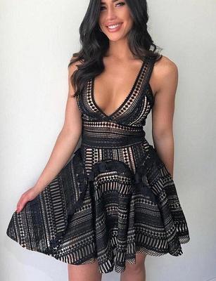 Unique Elegant Lace Flattering A-line Sleeveless V-Neck Short Prom Homecoming Dress_3
