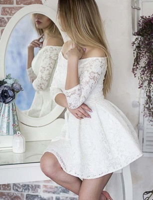 Glamour Long Sleeves A-Line Lace Off-the-Shoulder Mini Online Prom Dress Sale   Suzhoudress UK_3