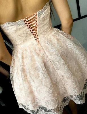 Unique Appliques Flattering A-line Elegant Lace Different Sweetheart Elegant Lace-up Homecoming Dress_3