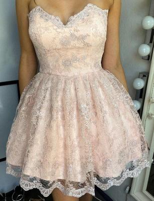 Unique Appliques Flattering A-line Elegant Lace Different Sweetheart Elegant Lace-up Homecoming Dress_1