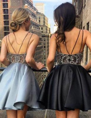 Luxury Flattering Beading Spaghetti Straps Lace Short Elegant Prom Dress Online | Suzhoudress UK_3