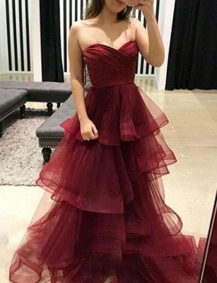 Stunning Flattering Tiered Oganza Romantic strapless Burgundy Long Prom Evening Dress | Suzhoudress UK_3