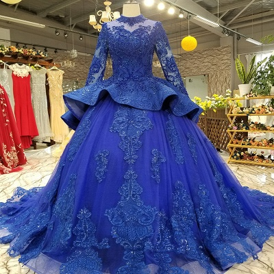 Long Sleeves Ball Gown Applique Tulle Sparkly Beaded Court Train Prom Dress UK on sale_1