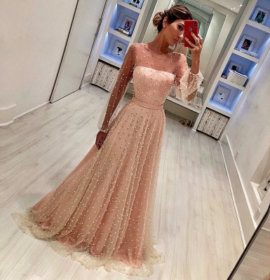 Round Neck Long Sleeves A-Line Tulle Belt Prom Dress_1