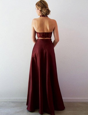 Tank Top Lace Flattering Split Front Long-Length Halter Elegant Prom Dress Online | Suzhoudress UK_3