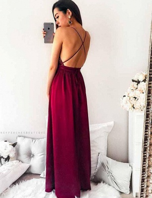 Gorgeous Spaghett-Straps Burgundy Prom Dress Long Sequins Evening Gowns_3