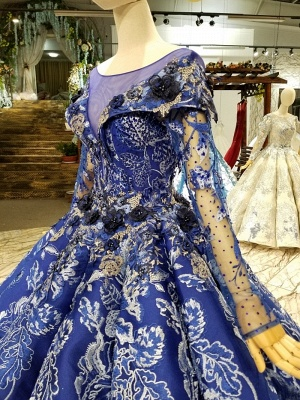 Sweep Train Long Sleeves Applique Ball Gown Floor-Length Prom Dress UK on sale_6