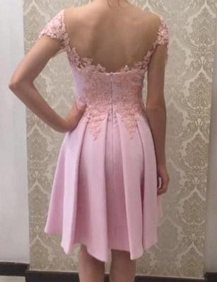 Glamorous Flattering A-line Appliques Short Sleeves Knee-Length Prom Dress UK on sale_3