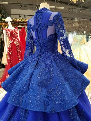 Long Sleeves Ball Gown Applique Tulle Sparkly Beaded Court Train Prom Dress UK on sale_5