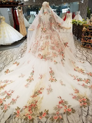 High Neck Chapel Train Applique Long Sleeves Ball Gown Prom Dress UK on sale_4