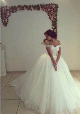 Elegant Off-the-Shoulder Tulle Puffy Wedding Dresses | Bridal Gowns Online_2
