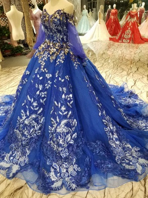 Off-the-Shoulder Long Sleeves Ball Gown Tulle Applique Court Train Prom Dress UK on sale_5