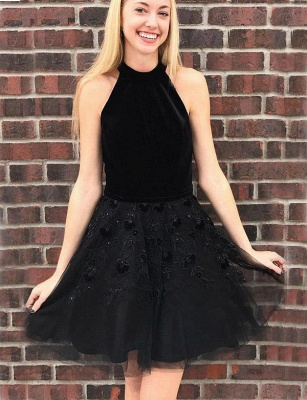 Unique Flattering A-line Appliques Halter Tulle Short Homecoming Dress_1