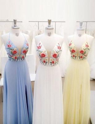 Lace Flattering Embroidery Spaghetti Straps Long-Length Elegant Prom Dress Online | Suzhoudress UK_1