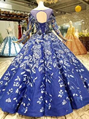 Sweep Train Long Sleeves Applique Ball Gown Floor-Length Prom Dress UK on sale_4