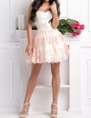 Modern Appliques Flattering A-line Elegant Lace Different Sweetheart Short Homecoming Dress_3