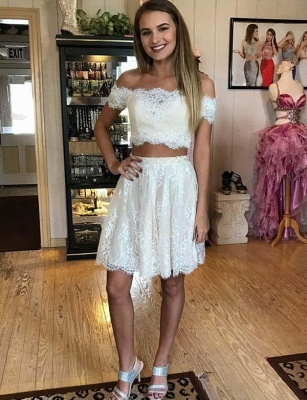 Stunning Two Piece Lace A-Line Off-the-Shoulder Mini Online Prom Dress Sale | Suzhoudress UK_1