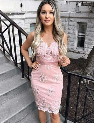 Unique Appliques Spaghetti Straps Fitting Column Short Prom Dress UK on sale_1