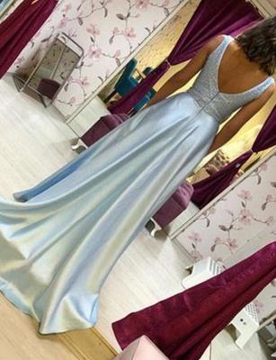 Chiffon Flattering Beading Trendy V-neck Sleeveless Long-Length Elegant Prom Dress Online | Suzhoudress UK_3