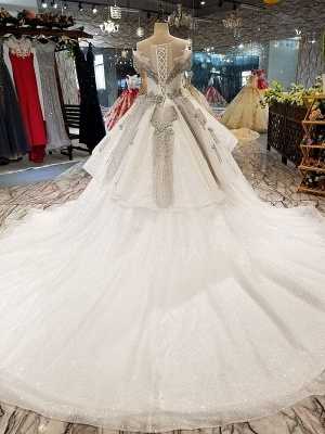 Organza Applique Ball Gown Chapel Train Short Sleeves Prom Dress UK on sale_4