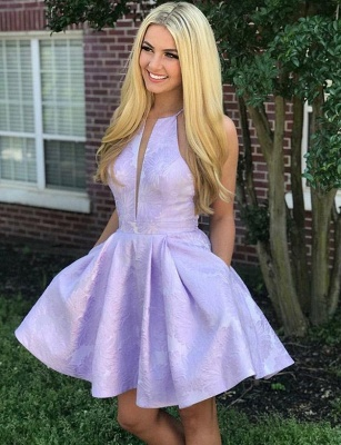 Fashion Sleeveless Flattering A-line V-Neck Halter Short Prom Homecoming Dress_1