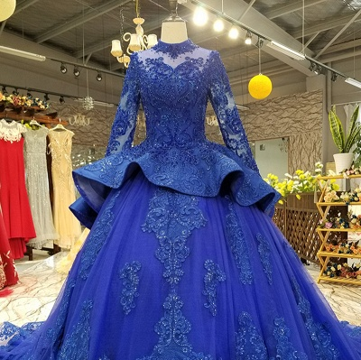 Long Sleeves Ball Gown Applique Tulle Sparkly Beaded Court Train Prom Dress UK on sale_7