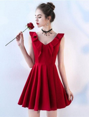 Simple Sleeveless Flattering A-line Straps V-Neck Short Prom Homecoming Dress_4