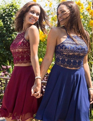 Two Piece Spaghetti Straps Flattering A-line Elegant Lace Elegant Lace-up Short Prom Homecoming Dress_3
