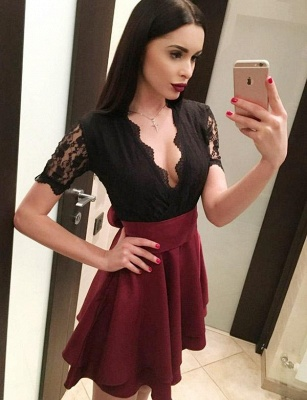 Chic Sexy Flattering A-line Elegant Lace V-Neck Bow Short Sleeves Homecoming Dress_3