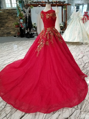 Sparkly Beaded Applique Round Neck Short Sleeves Flattering A-line Court Train Prom Dress UK on sale_5