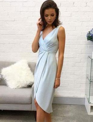 Fashion Sleeveless Flattering A-line V-Neck High Low Homecoming Dress_1
