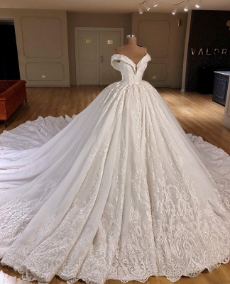 Stylish Applique Off-the-Shoulder Puffy Wedding Dresses | Bridal Gowns Online_1