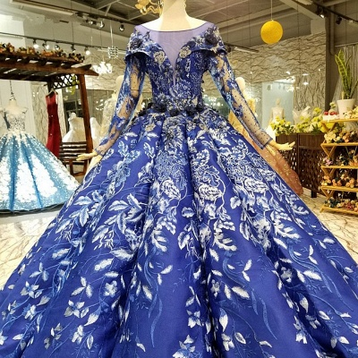 Sweep Train Long Sleeves Applique Ball Gown Floor-Length Prom Dress UK on sale_1