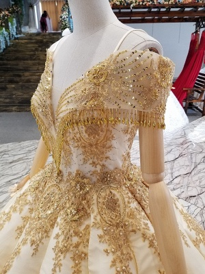 Sequins Spaghetti Straps Sparkly Beaded Sweep Train Ball Gown Prom Dress UK on sale_5