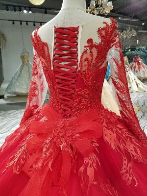 Ball Gown Long Sleeves Bow Applique Tulle Flattering A-line Round Neck Prom Dress UK on sale_6