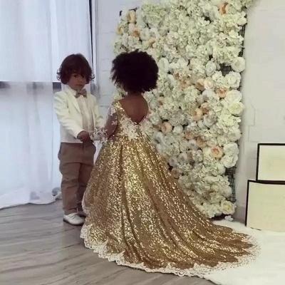 Gold Sparkly Sequins Girl Applique Round Neck Court Train Pageant Dress | Suzhoudress UK_1