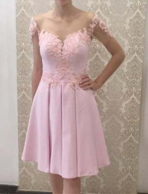 Glamorous Flattering A-line Appliques Short Sleeves Knee-Length Prom Dress UK on sale_1