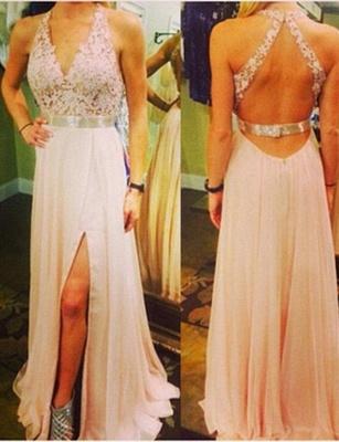 Lace Long-Length Flattering Split Front Trendy V-neck with Lace Appliques Sleeveless Elegant Prom Dress Online | Suzhoudress UK_3