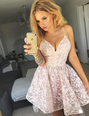 Fashion Spaghetti Straps Elegant Lace Flattering A-line High Low Homecoming Dress_1