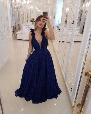 Womens Plunge V-Neck Teenage Tulle A-Line Online Prom Dress Sale | Suzhoudress UK_1
