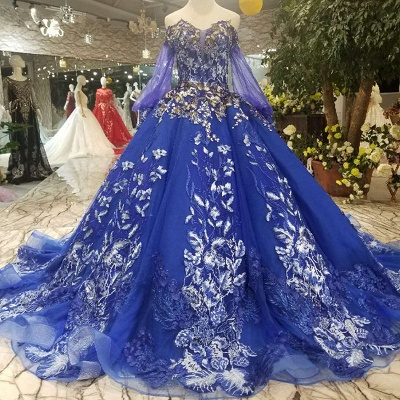 Off-the-Shoulder Long Sleeves Ball Gown Tulle Applique Court Train Prom Dress UK on sale_1