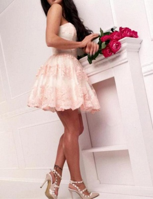 Modern Appliques Flattering A-line Elegant Lace Different Sweetheart Short Homecoming Dress_5