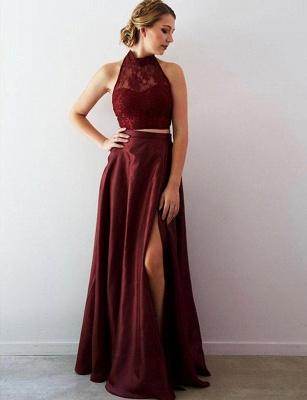 Tank Top Lace Flattering Split Front Long-Length Halter Elegant Prom Dress Online | Suzhoudress UK_1