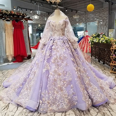 Ball Gown Spaghetti Straps Long Sleeves Court Train Applique Prom Dress UK on sale_1