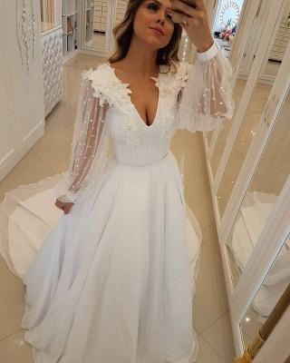 Fashion Long Sleeves Beading Tulle A-Line Flower Online Prom Dress Sale | Suzhoudress UK_1