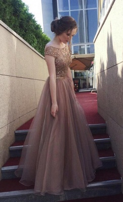 Chocolate Crystals A-Line Tulle Sweep Train Prom Dress_3