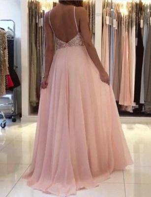 New Flattering Spaghetti Straps Beading Pink Long-Length Elegant Prom Dress Online | Suzhoudress UK_4