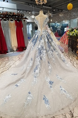 Round Neck Organza Applique Ball Gown Short Sleeves Prom Dress UK on sale_5